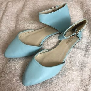 Bella Marie Light Blue Ankle Strap Pointed Flats 6
